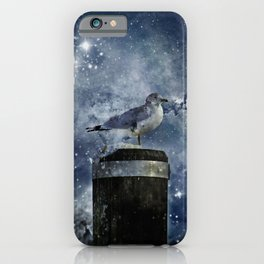 One Legged Seagull in a Snowstorm with Stars in His Eyes iPhone Case