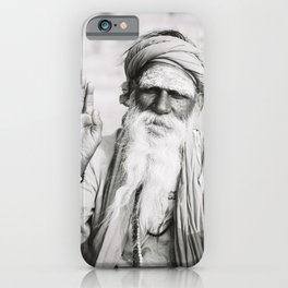 Black and White Portrait of Holy Man in Varanasi, India III | Travel Photography | iPhone Case