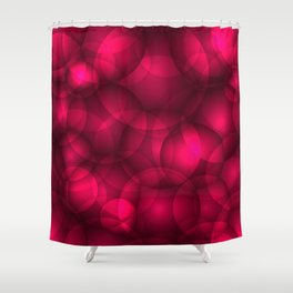 Glowing pink soap circles and volumetric glamorous bubbles of air and water. Shower Curtain