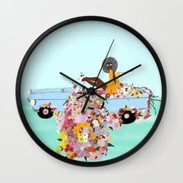 Car full of flowers Wall Clock