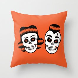 Spooky Rockabilly Skulls Throw Pillow