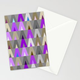 Deer Head Geometric Triangles | purple grey Stationery Cards