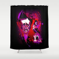edgar allan poe Shower Curtains featuring Edgar Allan Poe Caricature by Eileen Marie Art