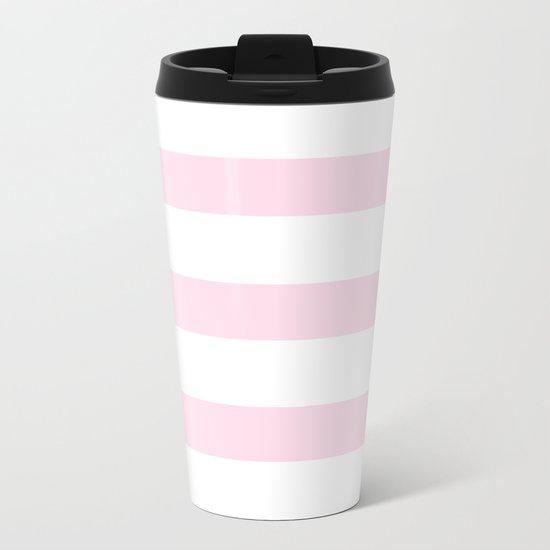 Pink Stripes on white- Beautiful luxury pattern Metal Travel Mug