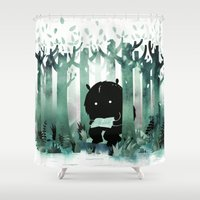 literature Shower Curtains featuring A Quiet Spot (in green) by littleclyde
