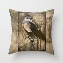 Vintage Grackle Queen Throw Pillow