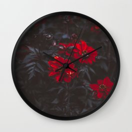 Beautiful Dark Red Sensual Romantic Flowers With Dark Leaves Wall Clock
