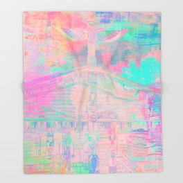Totem Cabin Abstract - Pastel Throw Blanket