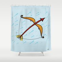 sagittarius Shower Curtains featuring Sagittarius by Giuseppe Lentini