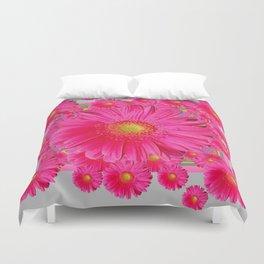 Pink Gerbera Flowers Grey Patterns Art #2 Duvet Cover