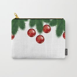 Christmas background with fir branches and red balls Carry-All Pouch