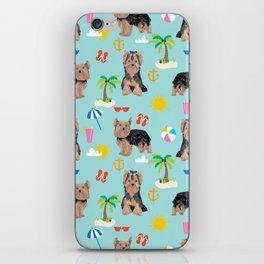 Yorkshire Terrier dog breed pet pattern dog art pet friendly terriers portrait beach summer iPhone Skin