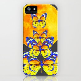 SURREAL BLUE BUTTERFLIES RISING GOLDEN MOON iPhone Case
