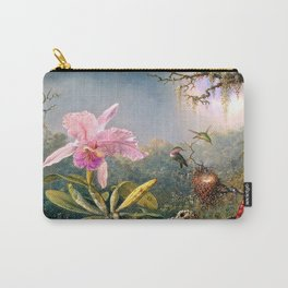 Nature's Fantasy : Cattyela Orchid and Three Brazilian Hummingbirds Carry-All Pouch