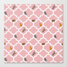 Cats on a Lattice - Pink Canvas Print