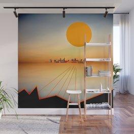 Horizon Sunset Orange Blue Wall Mural