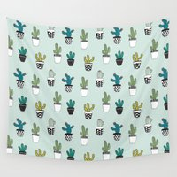 cacti Wall Tapestries featuring Cacti by Kelly Tucker