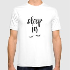Sleep In Black and White Watercolor Typography Print MEDIUM White Mens Fitted Tee