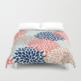 Floral Bloom Print, Living Coral, Pale Aqua Blue, Gray, Navy Duvet Cover