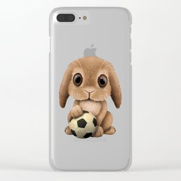 Cute Baby Bunny With Football Soccer Ball Clear iPhone Case