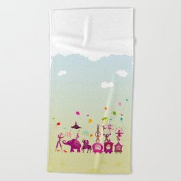 colorful circus carnival traveling in one row during daylight Beach Towel