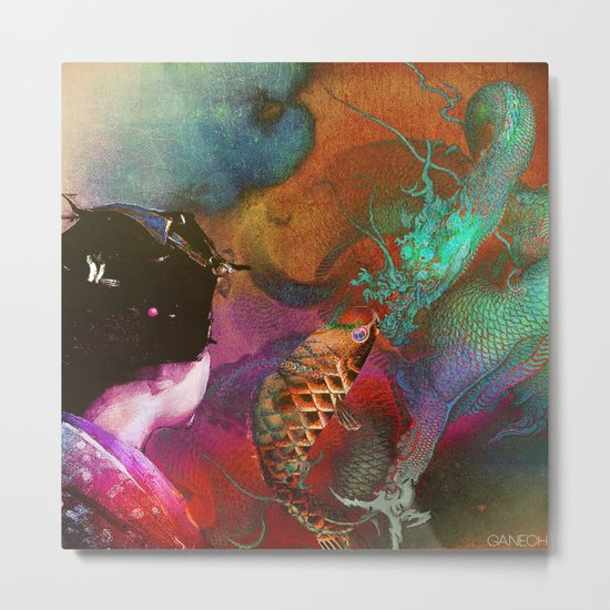 The story of the small carp koi who wanted to become a powerful dragon Metal Print