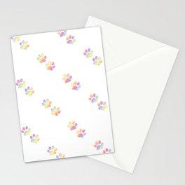 Mini Pastel Rainbow Diagonal Striped Paw Prints Stationery Cards