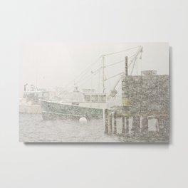 Bass Harbor in Heavy Snowstorm, Mount Desert Island, Maine Metal Print