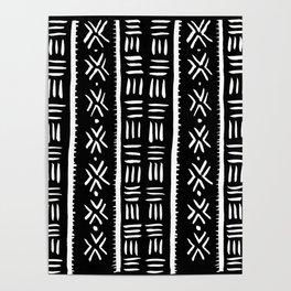 Black Mudcloth Tribal Pattern Poster