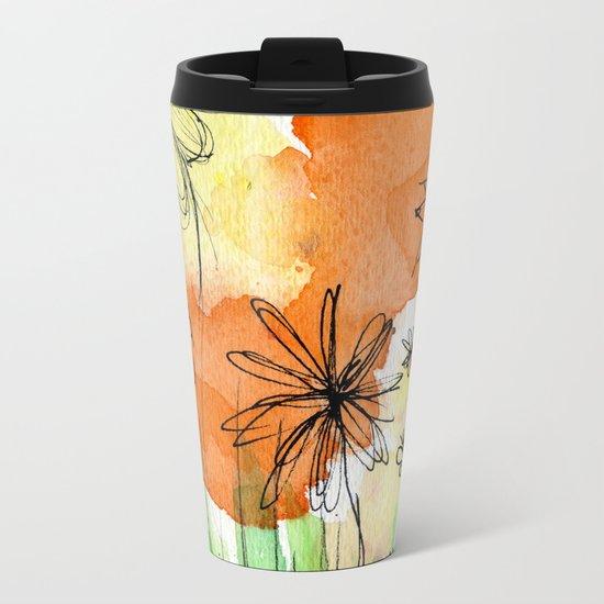 Flower Doodle 2 Metal Travel Mug