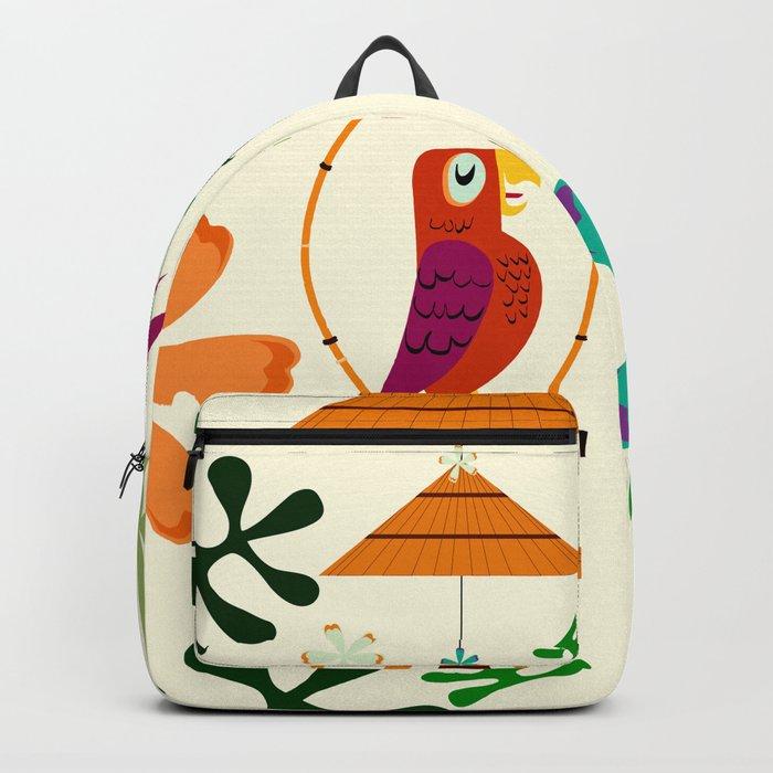 Vintage Modern Tiki Birds Backpack