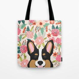 Tricolored Corgi cute corgi florals dog portrait custom dog art pet friendly dog head cell case Tote Bag