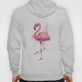 Pink Flamingo Watercolor Tropical Bird Hoody