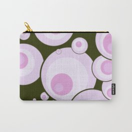 Retro Pink Circles w/Black Background Carry-All Pouch