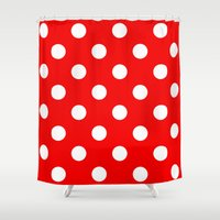 polka dots Shower Curtains featuring Polka dots  by MIKITCHU