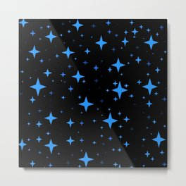 Bright Blue  Stars in Space Metal Print