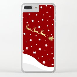 Red Christmas Santa Claus Clear iPhone Case