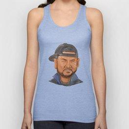 African-American Man Beard Hat Crying Watercolor Unisex Tank Top