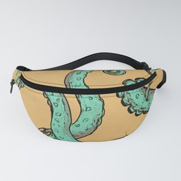 Teal Green Beige Tentacles Woodblock style Fanny Pack