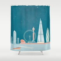 travel poster Shower Curtains featuring Vintage London Travel Poster by Travel Poster Co.