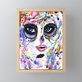 Halloween girl with sugar skull makeup, watercolor painting Framed Mini Art Print