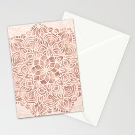 Mandala Seashell Rose Gold Coral Pink Stationery Cards