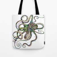 shower Tote Bags featuring Octopsychedelia by TAOJB