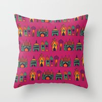 india Throw Pillows featuring India by cactus studio
