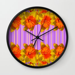Orange-Yellow Daffodils Lilac Vision Wall Clock