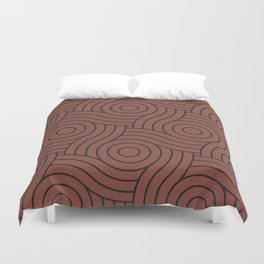 Circle Swirl Pattern Solid Color Dunn Edwards Color of the Year Spice of Life DET439 Duvet Cover