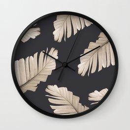 Sepia Banana Leaves Dream #2 #foliage #decor #art #society6 Wall Clock