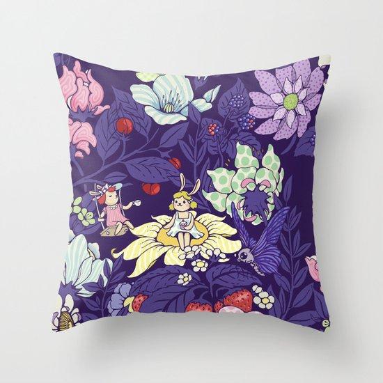Garden party - blueberry tea version Throw Pillow