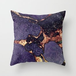GEMSTONE & GOLD PURPLE ULTRA VIOLET Throw Pillow