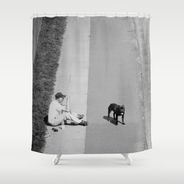 way out in the water... Shower Curtain